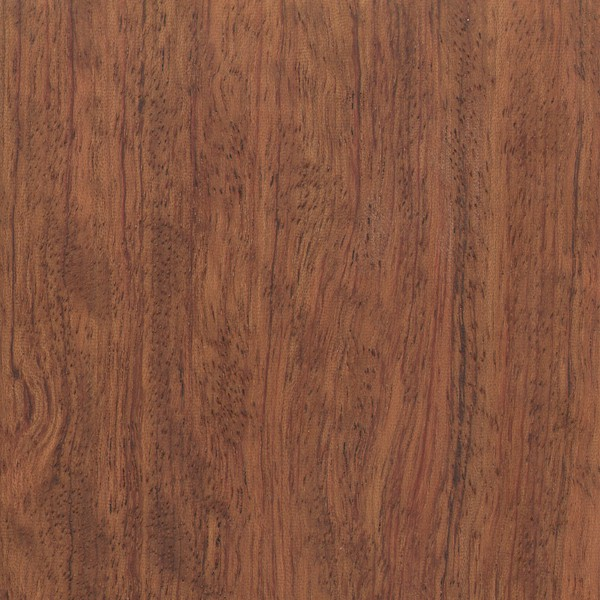 Heartwood ranges from a pinkish red to a darker reddish brown with darker purple or black streaks. Sapwood is a pale straw color and is clearly demarcated from the heartwood. Bubinga is very frequently seen with a variety of figure, including: pommele, flamed, waterfall, quilted, mottled, etc.