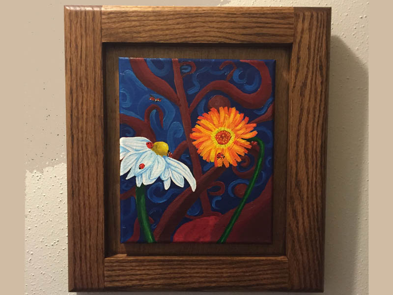 This was a fun frame made to house the painting Sarah Dunn made for us.  The frame itself is made out of stained Red Oak.  