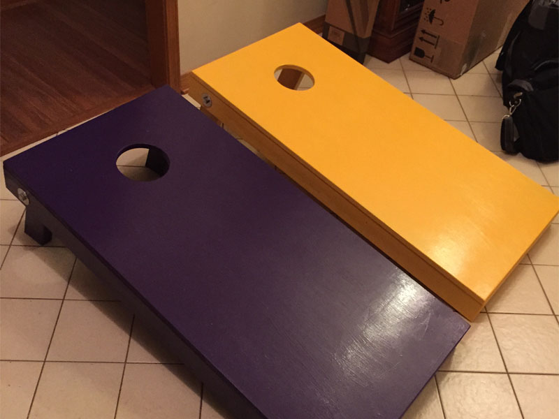 This LSU Themed Corn-hole game was custom made for Justine Lamarque.